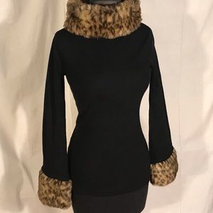 International concepts black sweater with faux fur